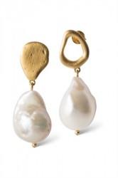 Enamel - Øreringe - Baroque Pearl Earring - Gold