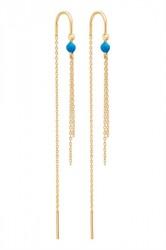 Enamel - Øreringe - Chain - Gold/Parisan Blue