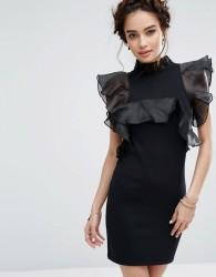 Endless Rose Exaggerated Ruffle Mini Dress - Black