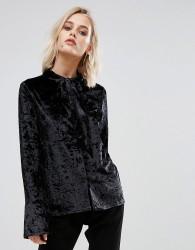 Endless Rose Flute Sleeve Tie Front Velvet Top - Black
