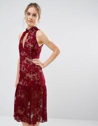 Endless Rose Frill Hem Key Hole Lace Dress - Red
