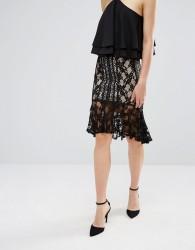 Endless Rose Frill Hem Lace Midi Skirt - Black