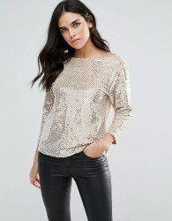 Endless Rose Heavily Embellished Long Sleeve Top - Pink