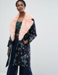 Endless Rose Jacquard Coat With Contrast Faux Fur - Navy
