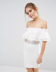 Endless Rose Knitted Ruffle Mesh Panel Mini Dress - White