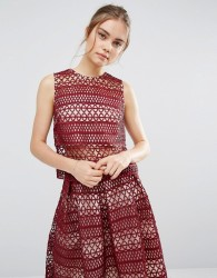 Endless Rose Lace Contrast Panel Top - Red