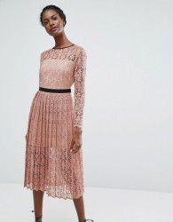 Endless Rose Lace Midi Dress With Pleated Skirt - Pink