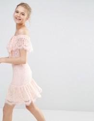 Endless Rose Lace Off The Shoulder Dress - Pink