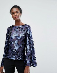Endless Rose Leopard Print Sequin Top With Bell Sleeves - Navy