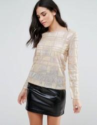 Endless Rose Long Sleeve Geometric Embellished Top - Gold