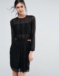 Endless Rose Long Sleeve Textured Skater Dress - Black