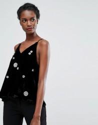 Endless Rose Sequin Cami Top - Black