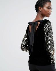 Endless Rose Sequin Long Sleeve Top - Black