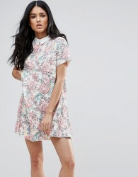 Endless Rose Short Sleeve Floral Shift Dress With Collared Detail - Pink