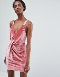 Endless Rose Twist Front Velvet Mini Dress - Pink