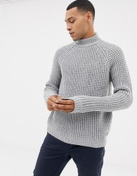 Esprit chunky waffle turtle neck jumper in wool blend - Grey