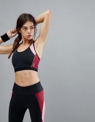 Esprit Colour Block Gym Crop Top - Black