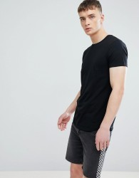 Esprit Longline Muscle Fit T-Shirt In Black With Curved Hem - Black
