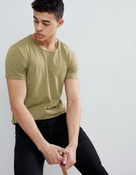 Esprit Longline T-Shirt with Raw Curved Hem - Green