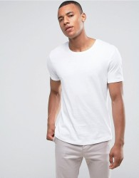 Esprit Longline T-Shirt With Roll Sleeve In White - White