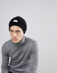 Esprit Oversized Beanie In Black Wool Blend - Black