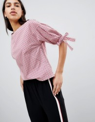 Esprit Polka Dot And Stripe Shell Top With Tie Sleeves - Multi