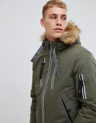 Esprit short parka with teddy lined faux fur hood - Green