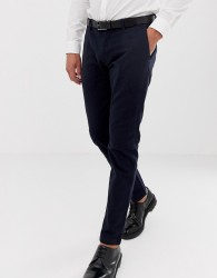 Esprit slim fit smart trousers in navy - Navy