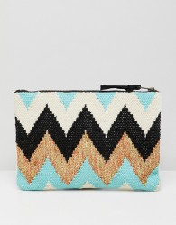 Essentiel Antwerp contrast sequin clutch bag - White