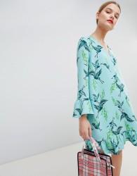 Essentiel Antwerp Drop Waist Dress in Bird Print - Green