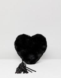 Essentiel Antwerp Faux Fur Heart Shoulder Bag - Black