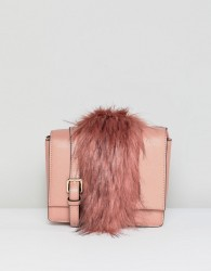 Essentiel Antwerp faux fur panel shoulder bag - Pink