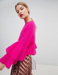 Essentiel Antwerp Fluffy Frill Jumper - Pink