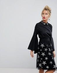 Essentiel Antwerp Flute Sleeved Embellished Blouse - Black