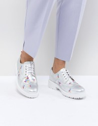 Essentiel Antwerp Leather Brogues with Embroidery - Silver