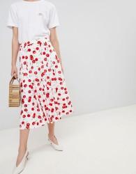 Essentiel Antwerp Midi Skirt in Cherry Print - Multi