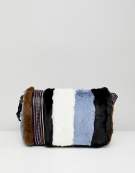 Essentiel Antwerp mini faux fur crossbody bag - Multi