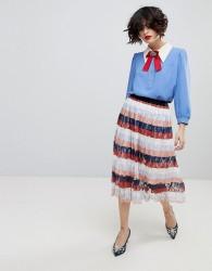 Essentiel Antwerp Palms Midi Pleated Skirt - Pink