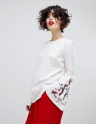Essentiel Antwerp Paradise Long Sleeved Embroidered Blouse - White