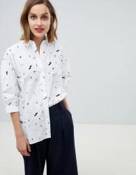 Essentiel Antwerp scribble flower shirt with embellishment - Multi