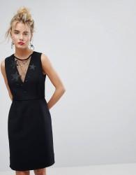 Essentiel Antwerp Star Embellished Mesh Insert Dress - Black