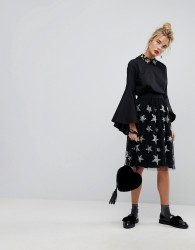 Essentiel Antwerp Star Embroidered Tulle Midi Skirt - Black