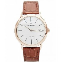 Eterna Eternity Quartz Gold/Brown Gold/Brown Leather 40mm