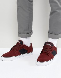 Etnies Barge LS Trainers In Burgundy - Red