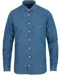 Eton Contemporary Fit Chambray Cut Away Shirt Indigo
