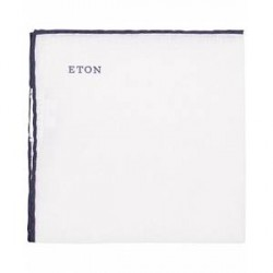 Eton Linen Hand Rolled Edge Pocket Square Dark Blue