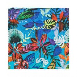 Eton Linen Printed Leafs Pocket Square Blue