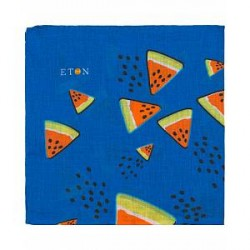Eton Linen Printed Melons Pocket Square Blue