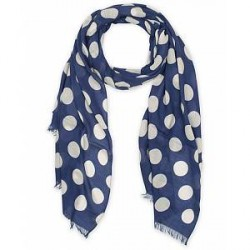 Eton Modal/Wool Dot Scarf Blue