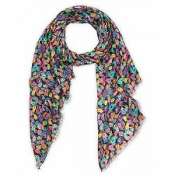 Eton Modal/Wool Lips Scarf Black